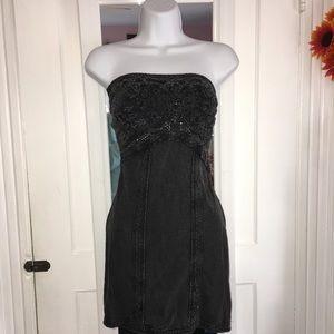 Free people dark grey sleeveless mini dress